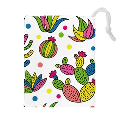 Cactus Seamless Pattern Background Polka Wave Rainbow Drawstring Pouches (extra Large)