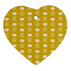 Circle Polka Chevron Orange Pink Spot Dots Heart Ornament (two Sides)