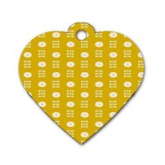 Circle Polka Chevron Orange Pink Spot Dots Dog Tag Heart (one Side)
