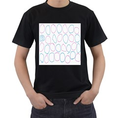 Circles Featured Pink Blue Men s T Shirt (black) (two Sided)