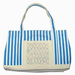 Circles Featured Pink Blue Striped Blue Tote Bag