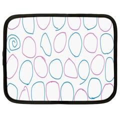Circles Featured Pink Blue Netbook Case (xl)