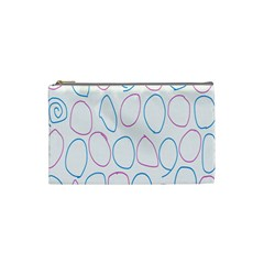 Circles Featured Pink Blue Cosmetic Bag (small)
