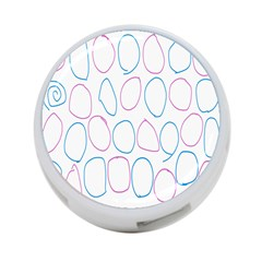 Circles Featured Pink Blue 4 Port Usb Hub (two Sides)