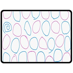 Circles Featured Pink Blue Fleece Blanket (large)