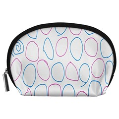 Circles Featured Pink Blue Accessory Pouches (large)