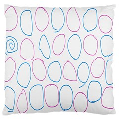 Circles Featured Pink Blue Large Flano Cushion Case (two Sides)