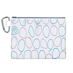Circles Featured Pink Blue Canvas Cosmetic Bag (xl)