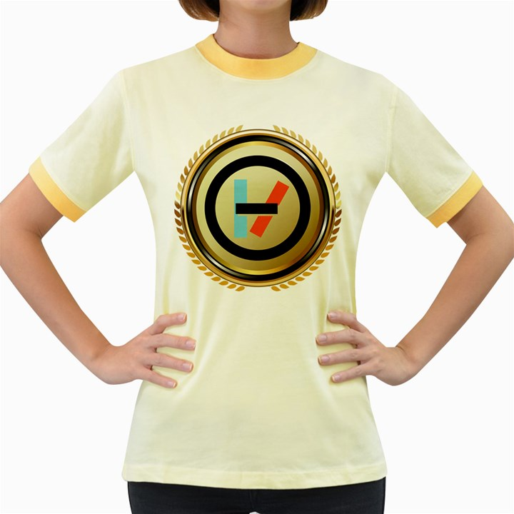 Twenty One Pilots Shield Women s Fitted Ringer T-Shirts
