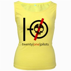 Twenty One Pilots Skull Women s Yellow Tank Top