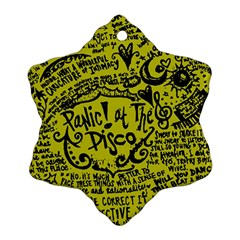 Panic! At The Disco Lyric Quotes Snowflake Ornament (two Sides)