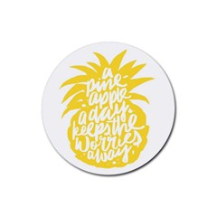 Cute Pineapple Yellow Fruite Rubber Coaster (round)