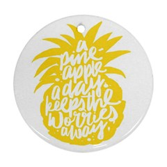 Cute Pineapple Yellow Fruite Round Ornament (two Sides)