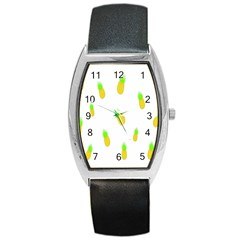Cute Pineapple Fruite Yellow Green Barrel Style Metal Watch