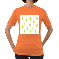 Cute Pineapple Fruite Yellow Green Women s Dark T Shirt