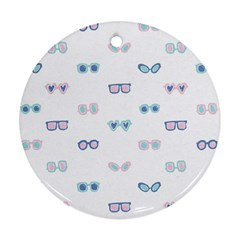 Cute Sexy Funny Sunglasses Kids Pink Blue Ornament (round)