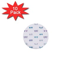 Cute Sexy Funny Sunglasses Kids Pink Blue 1  Mini Buttons (10 Pack)