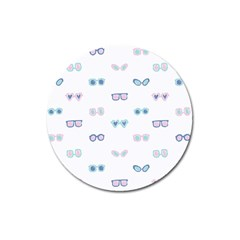Cute Sexy Funny Sunglasses Kids Pink Blue Magnet 3  (round)
