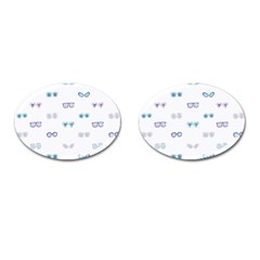 Cute Sexy Funny Sunglasses Kids Pink Blue Cufflinks (oval)