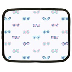 Cute Sexy Funny Sunglasses Kids Pink Blue Netbook Case (large)