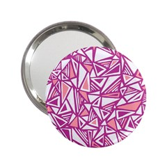 Conversational Triangles Pink White 2 25  Handbag Mirrors