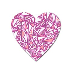 Conversational Triangles Pink White Heart Magnet