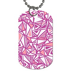 Conversational Triangles Pink White Dog Tag (two Sides)