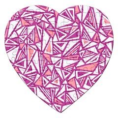 Conversational Triangles Pink White Jigsaw Puzzle (heart)