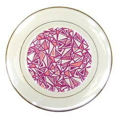Conversational Triangles Pink White Porcelain Plates