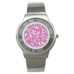 Conversational Triangles Pink White Stainless Steel Watch