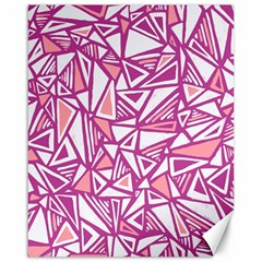 Conversational Triangles Pink White Canvas 16  X 20