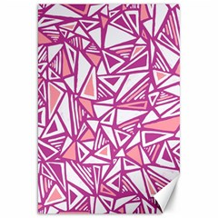 Conversational Triangles Pink White Canvas 20  X 30