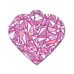 Conversational Triangles Pink White Dog Tag Heart (one Side)