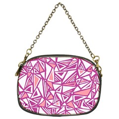 Conversational Triangles Pink White Chain Purses (two Sides)