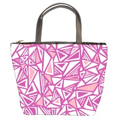 Conversational Triangles Pink White Bucket Bags