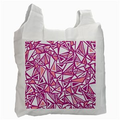 Conversational Triangles Pink White Recycle Bag (two Side)