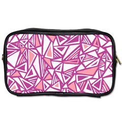 Conversational Triangles Pink White Toiletries Bags 2 Side