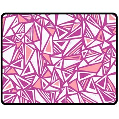 Conversational Triangles Pink White Fleece Blanket (medium)