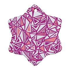 Conversational Triangles Pink White Snowflake Ornament (two Sides)