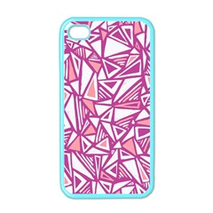 Conversational Triangles Pink White Apple Iphone 4 Case (color)