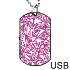 Conversational Triangles Pink White Dog Tag Usb Flash (one Side)