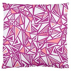 Conversational Triangles Pink White Large Cushion Case (two Sides)