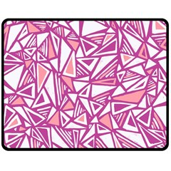 Conversational Triangles Pink White Double Sided Fleece Blanket (medium)