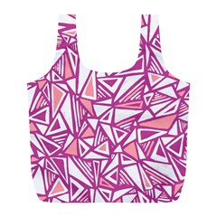 Conversational Triangles Pink White Full Print Recycle Bags (l)