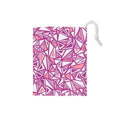 Conversational Triangles Pink White Drawstring Pouches (small)