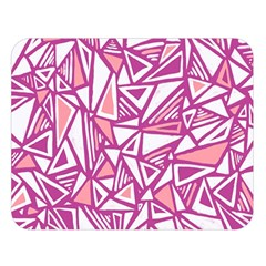 Conversational Triangles Pink White Double Sided Flano Blanket (large)