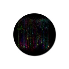 Brain Cell Dendrites Rubber Round Coaster (4 Pack)