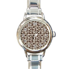 Dried Leaves Grey White Camuflage Summer Round Italian Charm Watch