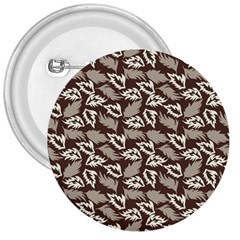 Dried Leaves Grey White Camuflage Summer 3  Buttons