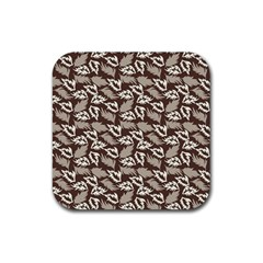 Dried Leaves Grey White Camuflage Summer Rubber Square Coaster (4 Pack)